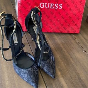 Guess lace and gold chain heels!